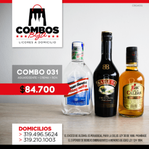 CBGA031 – Ron Viejo de Caldas Tradicional + Crema de Whisky Baileys + Aguardiente Antioqueño