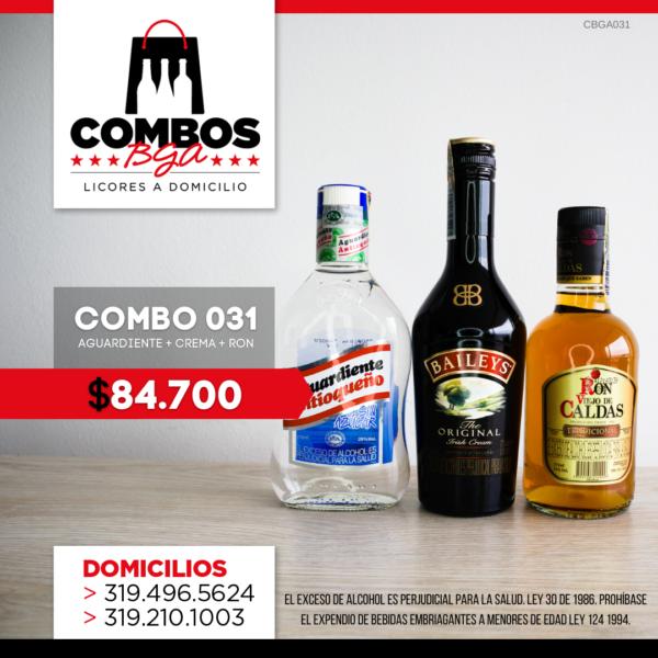 CBGA031 - Ron Viejo de Caldas Tradicional + Crema de Whisky Baileys + Aguardiente Antioqueño