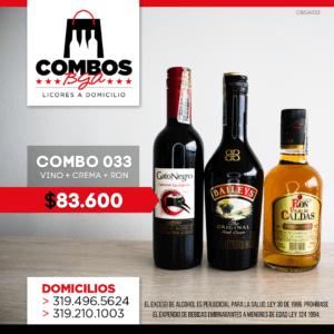 CBGA033 – Ron Viejo de Caldas Tradicional + Crema de Whisky Baileys + Gato Negro Vino