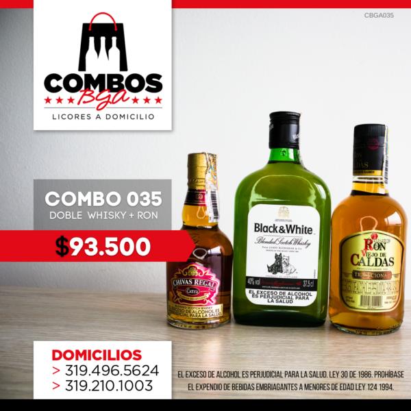 CBGA035 - Ron Viejo de Caldas Tradicional + Whisky Black & White 8 años + Whisky Chivas Regal Extra