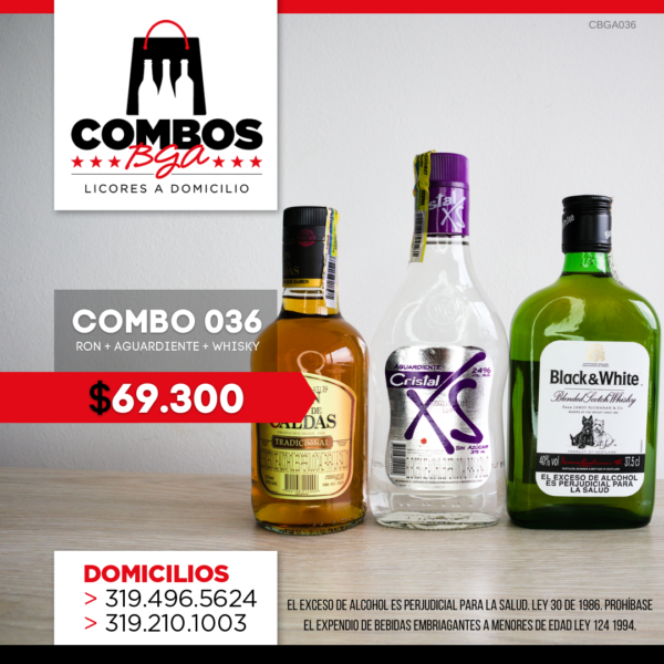 CBGA036 - Ron Viejo de Caldas Tradicional + Whisky Black & White 8 años + Aguardiente Cristal