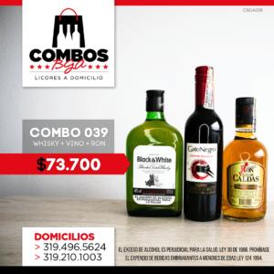 CBGA039 – Ron Viejo de Caldas Tradicional + Whisky Black & White 8 años + Gato Negro Vino